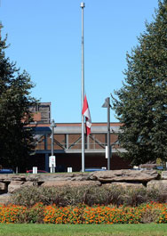 The college has set it's flag to half-mast to honour and mourn the loss of those in the yesterday's OC Transpo/VIA Rail accident.