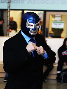 Peter Harrison, second-year radio broadcasting student, dressed as a suited luchador wrestler. Students showed off their creativity for Halloween.