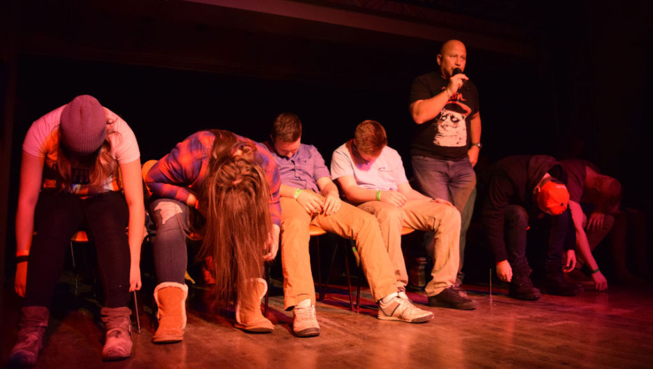 Students volunteer to be hypnotized by Tony Lee at the Observatory.  Real or fake, it led to many laughs.