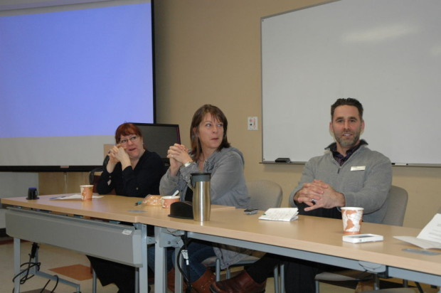 Juie Viau, Lisa Roots and Jay Smith were three of the four panelists who were at the Leadership Development for Women Initiative on Feb. 10. The other panelist at the event was nursing professor Sherry Poirier.