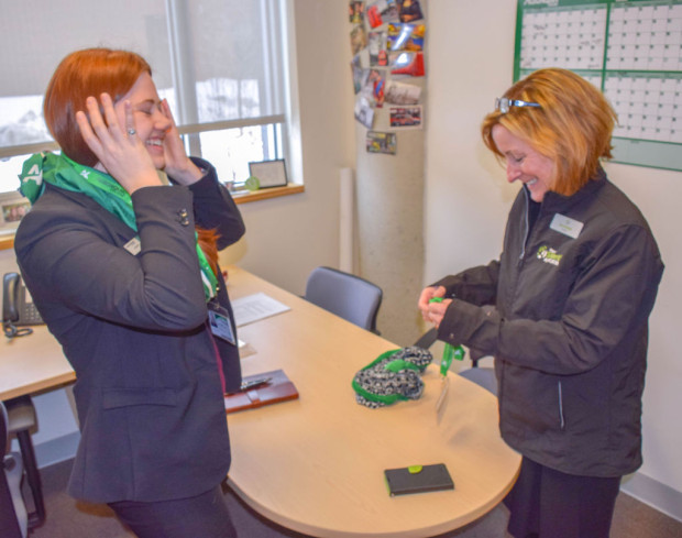 "Algonquin's ""In Her Shoes"" event, highlighting International Women's Day, allows SA and AC presidents to swap jobs the week of March 7-11. Sara Grainger, left, and Cheryl Jensen trade roles and jackets."