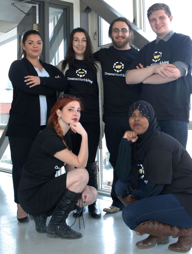 From left, Stephanie Beyer, Ayden Dube, Darcy Tetreault, Travis Bird , Megan Balah and Munna Aden. The six public relations students helped promote the video that raises awareness for violence against women.