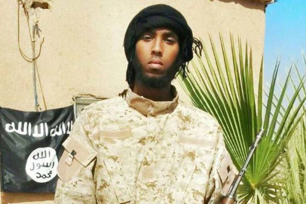 Khadar Khalib in the desert in Syria after fleeing to join ISIS.