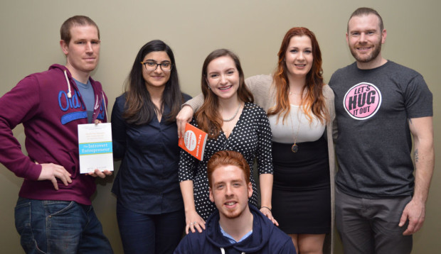 From left: Curtis Shaw, Nikita Khanna, Camila Bousquet, David Paré (below), Christina Miller and Matthew Britt. Shaw, Khanna, Bousquet and Miller were all winners of the Build a Better Business competition. They were each rewarded with a book about business and marketing along with the top prize which went to Shaw and Khanna.