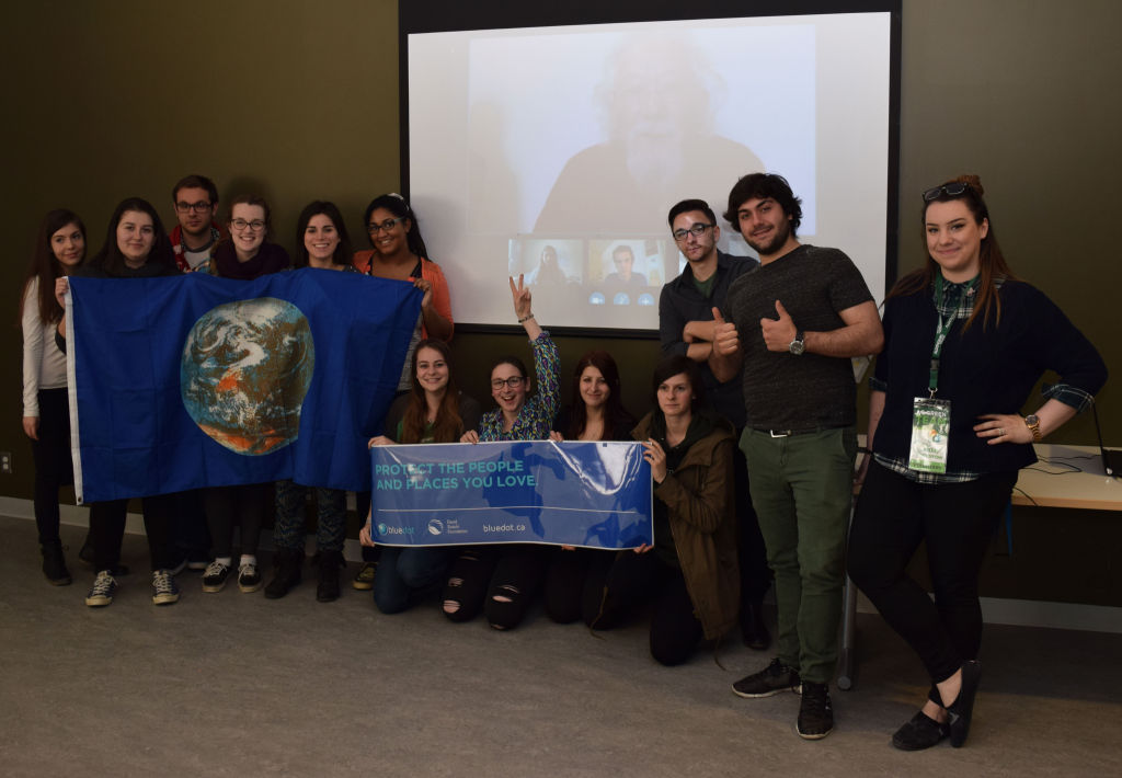 First-year environment studies students Skype with David Suzuki during a class on April 5. The students won first place in Suzuki's Blue Dot Movement.