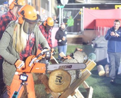 Redblacks continue partnership with Algonquin's loggersports team to cut 'cookies' at games
