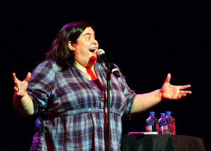 Comedian Debra DiGiovanni performs at the Commons Theatre Nov. 13. Her rapid-fire delivery and truthful set had been acclaimed by many, including Algonquin attendees.