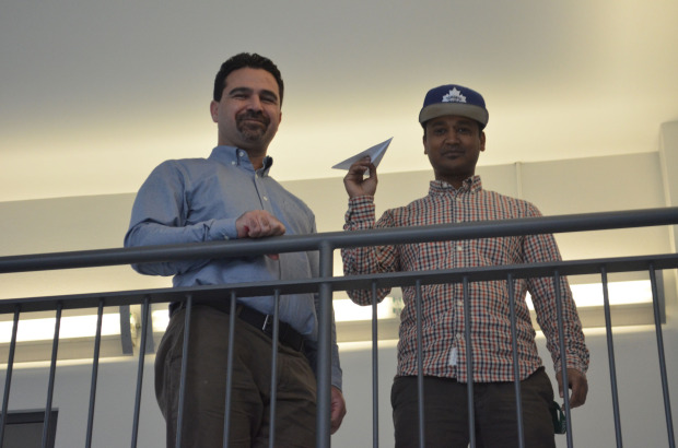 Ali Molani and Dawit Asfahar, both third-year civil engineering students, are planning for a paper airplane competition on Nov. 21.