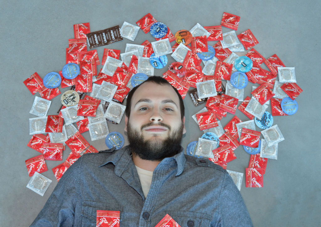 Boxes containing condoms are available at many different locations on campus.
