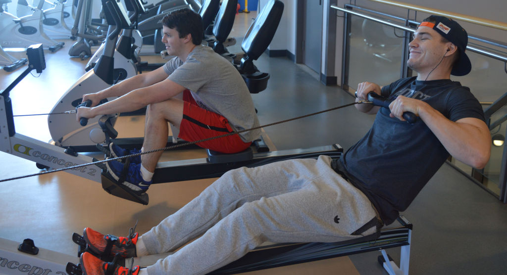 From left, Matt Cocksitott and Matthew Griffiths, both third-year architectural technology students. The two are spending their free time in the Fitness Zone.
