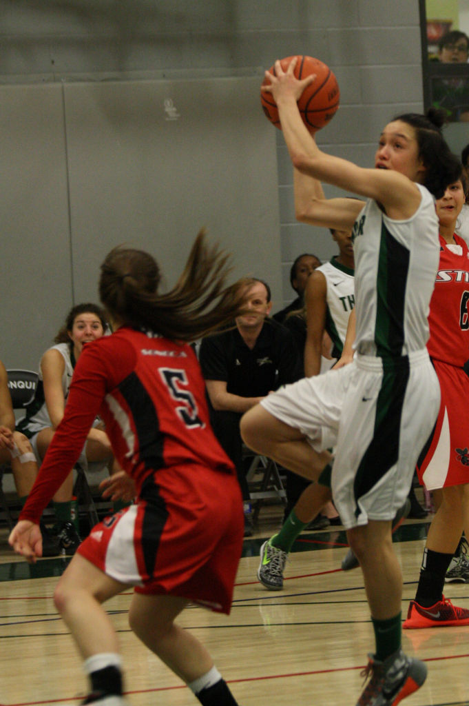 Thunder guard, Jeylinh Bui, drives to the net. The Thunder won with a final score of 67-64.