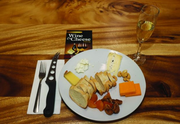 A plate setting on offer at AC Hubs wine and cheese pairing event.