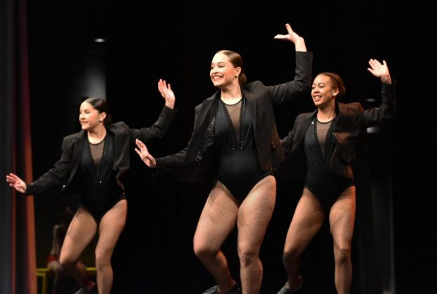 A tap trio performs at Dance Roots' competitive showcase to family and friends in Algonquin's Commons Theatre on Feb. 29.