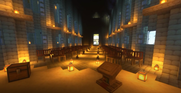 The Great Hall of Hogwarts is laid out for the convocation.