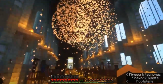 Fireworks are shot into the Great Hall after the students receive their diplomas.