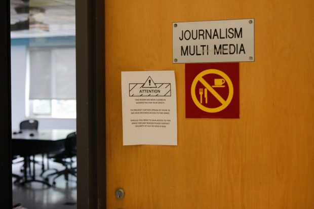 The now empty Journalism and Multimedia room, the primary learning space for Algonquin College's journalism students