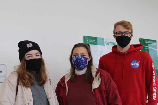 Travel and tourism student Emma Pearce (left), library and information technician student Maggie Street (middle) and business marketing student Jackson Kemp celebrated last Halloween in residence.