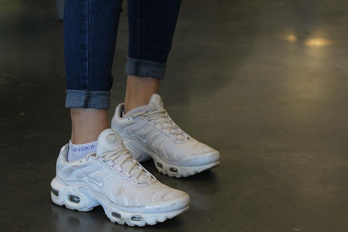 """Nicole Migrino wearing Nike Air Max Plus """"Pure Platinum"""""""