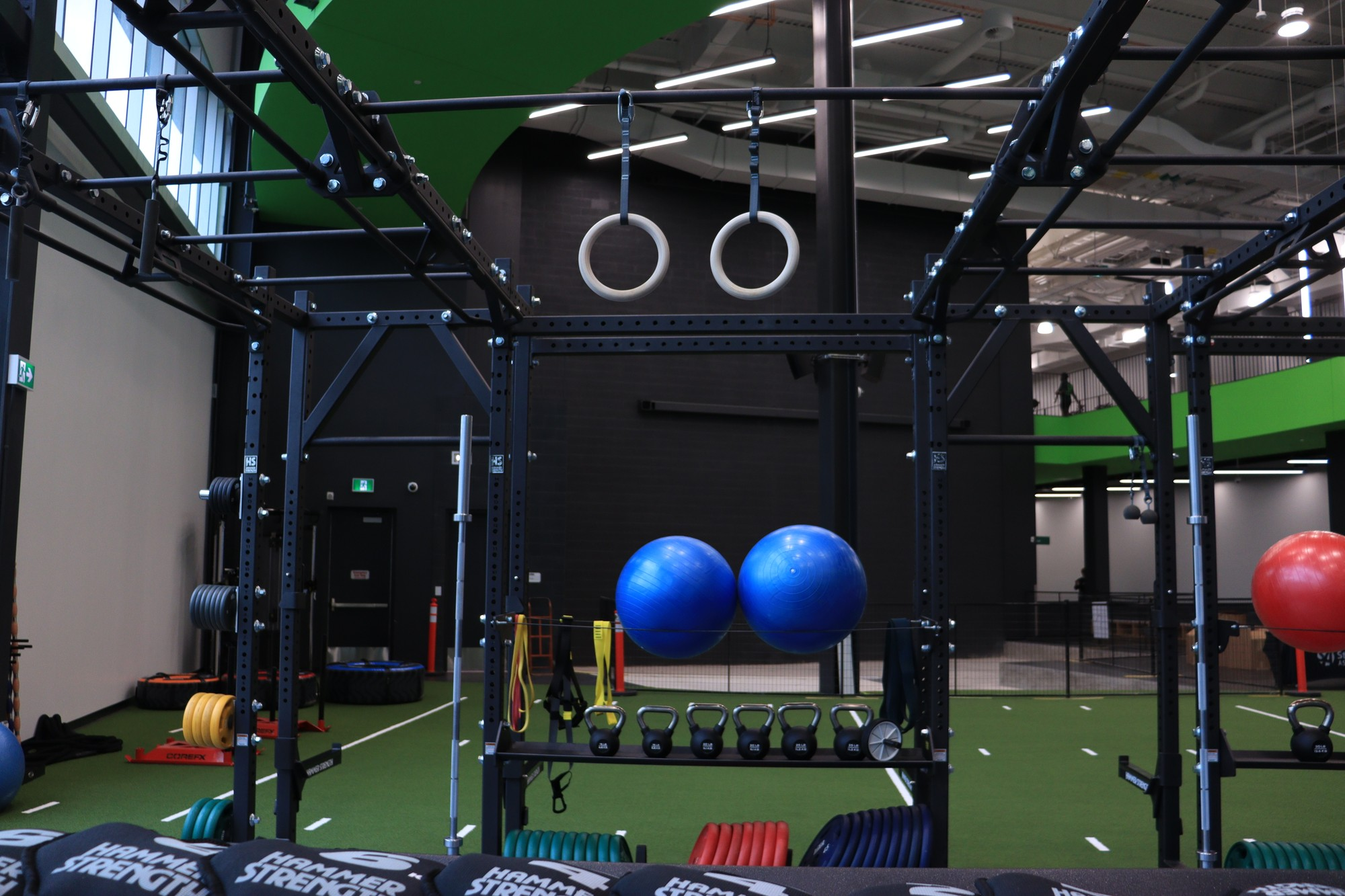 Some of the available weights, with exercise balls, tension ropes and much more.