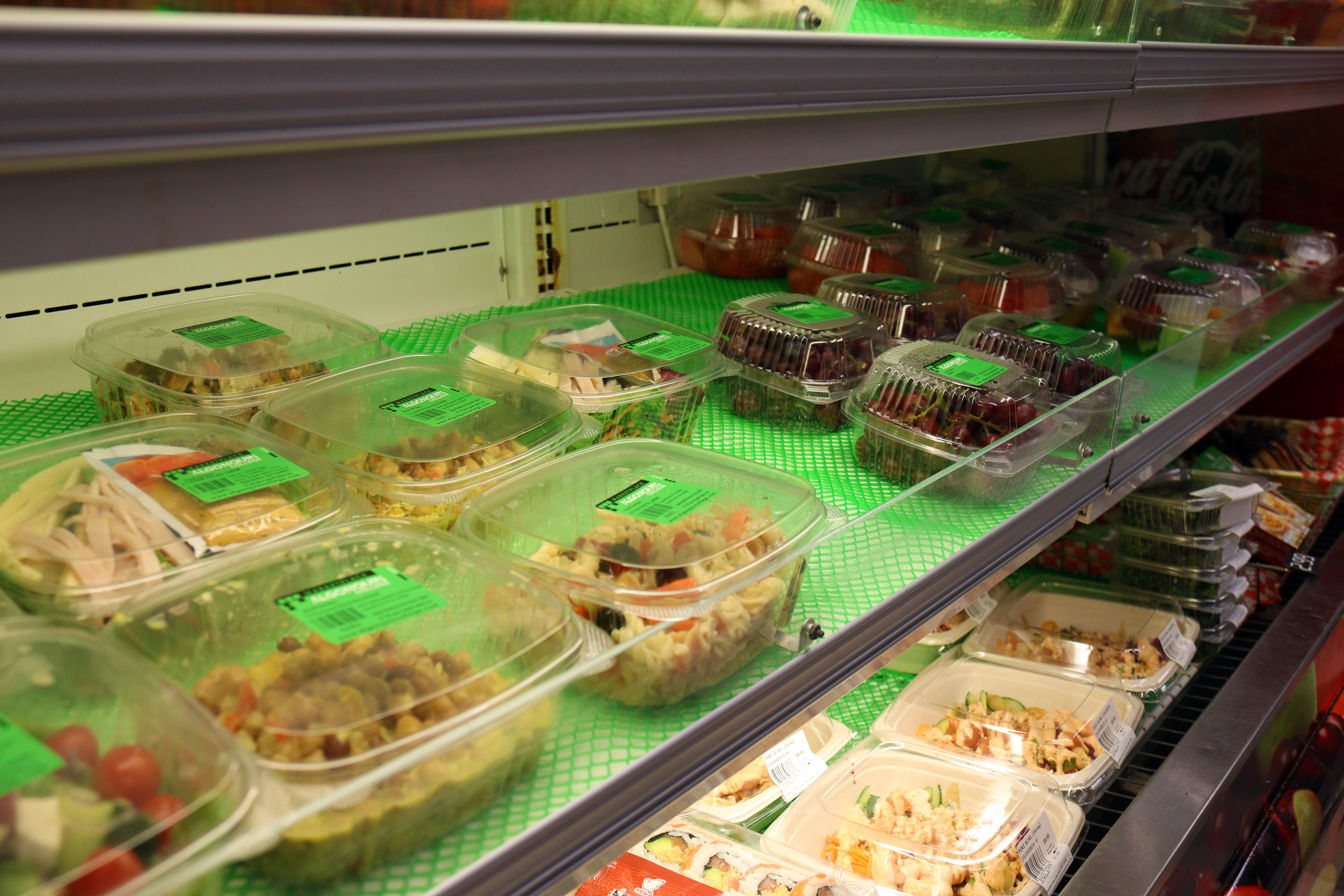In the Marketplace food court, some vegetarian options can be found including fruit, salads and pasta.