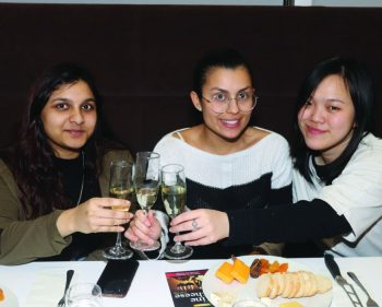 Students sample the finer points of pairing wine and cheese