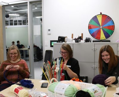 Knitting newbies and pros unwind with employee craft event